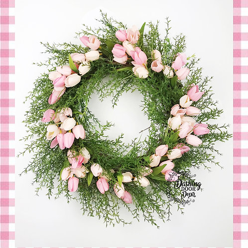 Pink Spring Tulip Floral Grapevine Wreath