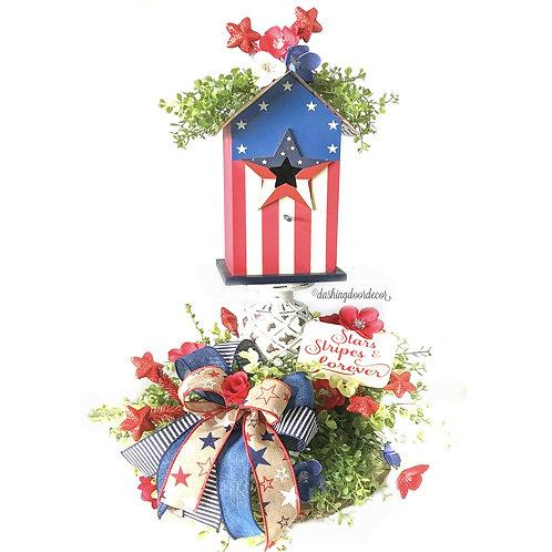 Rustic Patriotic Stars and Stripes Forever Birdhouse Centerpiece Arrangement