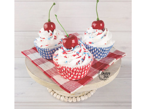 Fake Patriotic Cupcakes for Decor/ Display