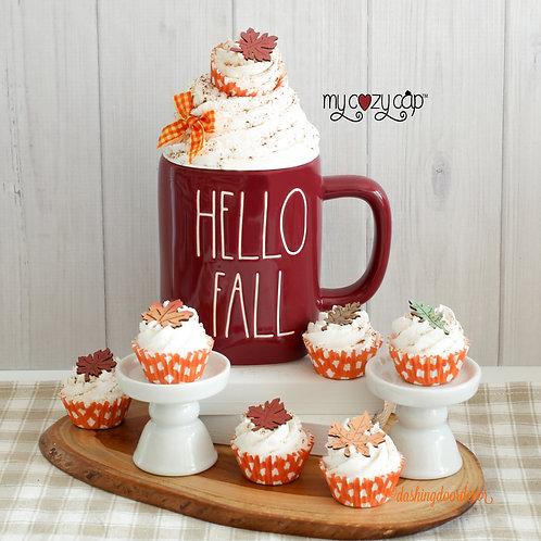 My Cozy Cap™ Fall Mini Cupcake Mug Topper Fits Rae Dunn Mugs