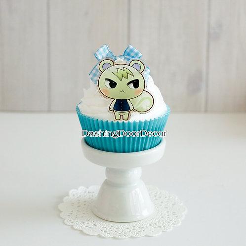 Faux Handmade Blue Cupcake w/ Character Charm