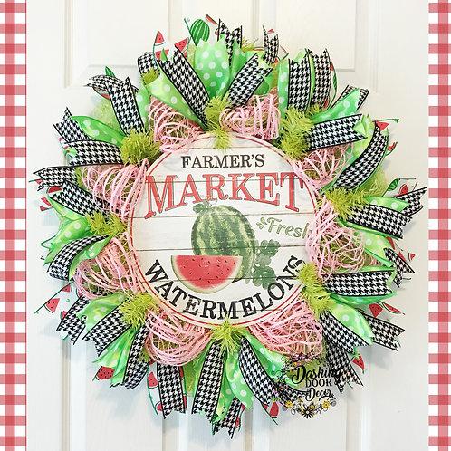 Farmer's Market Watermelon Deco Mesh Wreath