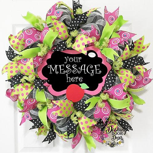 Personalized Back to School Teacher Chalkboard Classroom Deco Mesh Wreath #101
