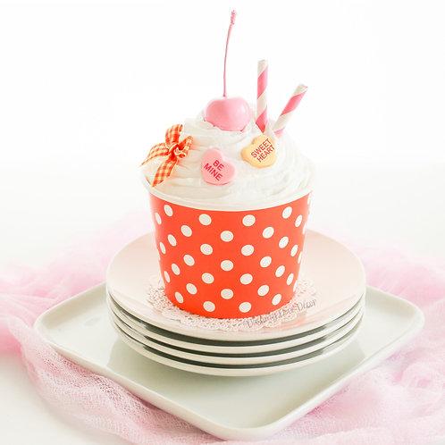 Faux Orange & White Polka Dot Ice Cream Sundae