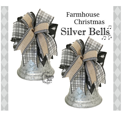 Farmhouse Christmas Silver Bells Ornament Tabletop Centerpiece