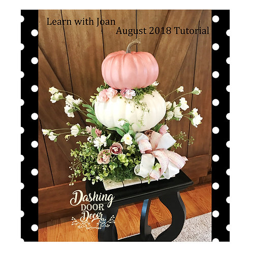 Pink & Ivory Shabby Chic Fall Floral Pumpkin Centerpiece