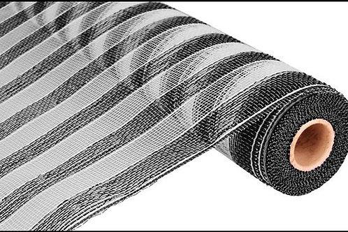 "21"" Poly Deco Mesh: Black & White Stripe (10 yards)"