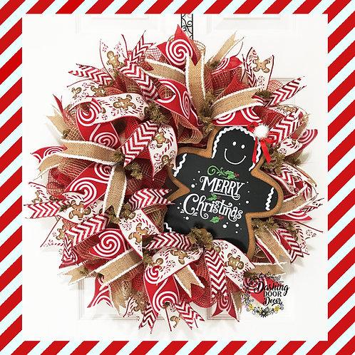 Christmas Gingerbread Burlap Ruffle Deco Mesh Wreath w/ Chalkboard Sign #125