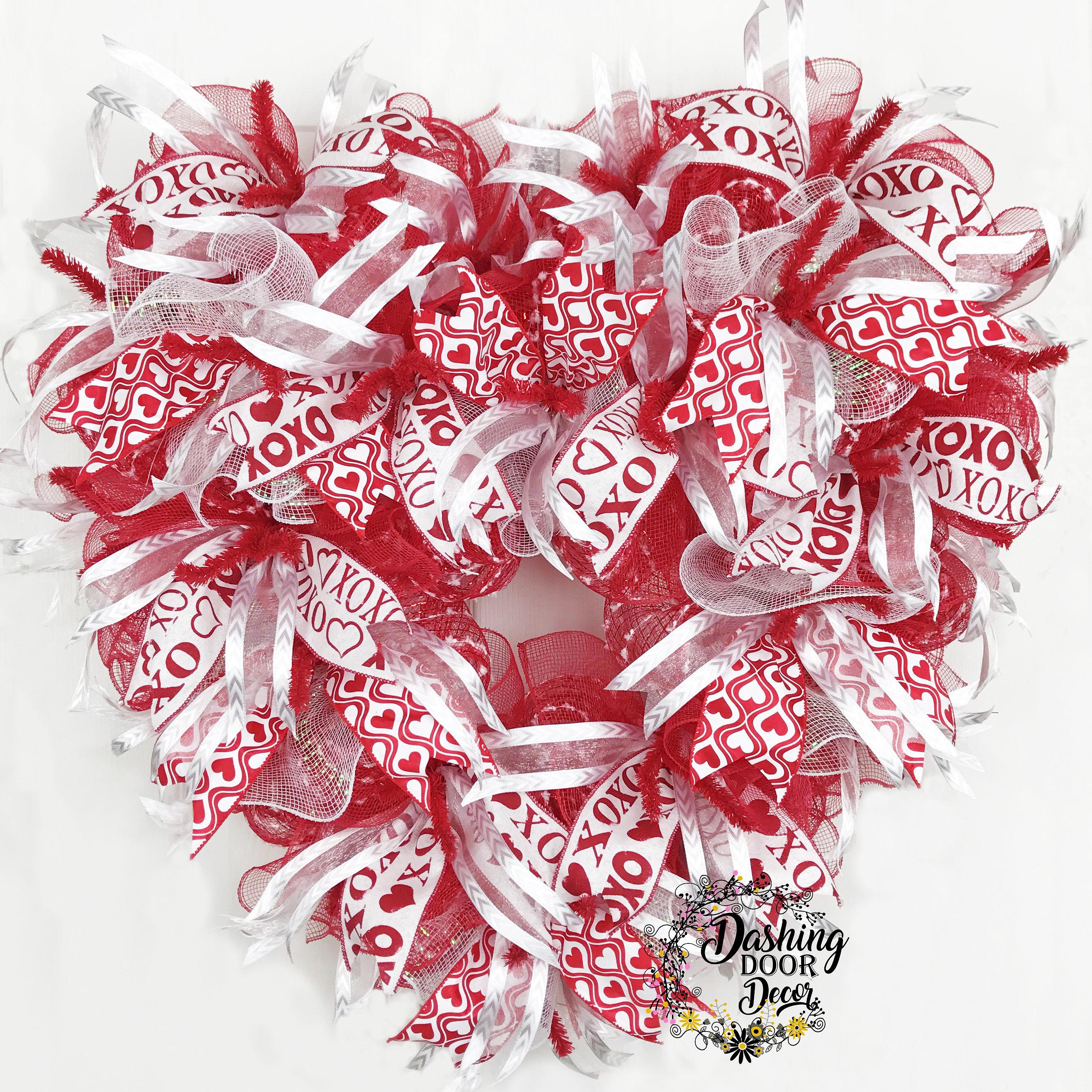 Dashingdoordecor heart shaped valentines day ruffle deco mesh heart shaped valentines day ruffle deco mesh front door red white wreath rubansaba