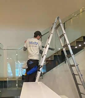 Staircase Glass Cleaning