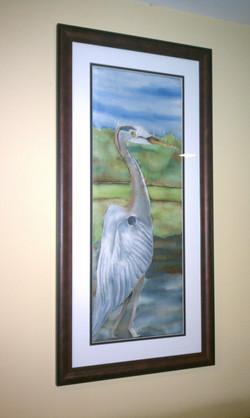 Heron Silk Painting