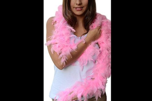 Boa de plumas rosa