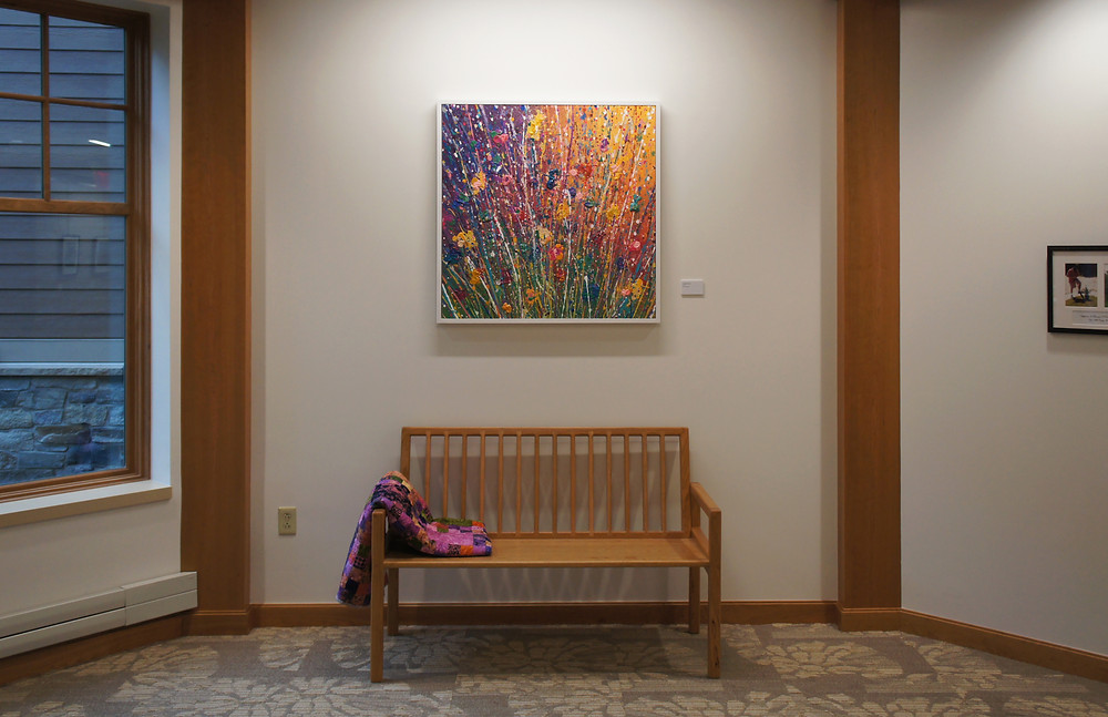 Alison Palizzolo, Just Before Sunset, 2017, acrylic spray paint and liquid acrylics on canvas, 36 x 36 inches, installed in the Jack Byrne Center for Hospice and Palliative care, DHMC, Lebanon, NH.