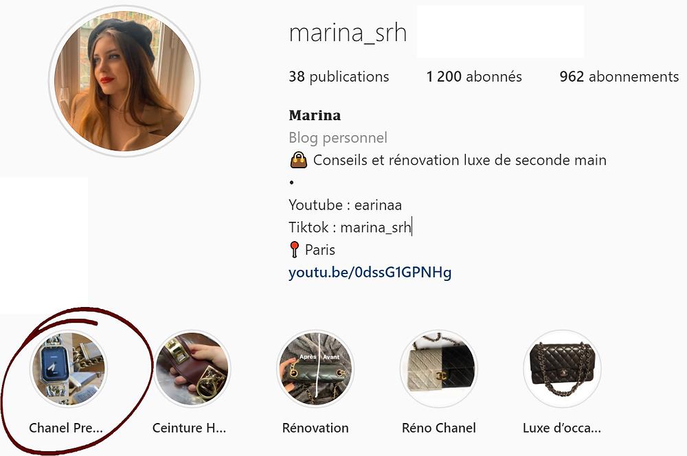 instagram fausse chanel montre première