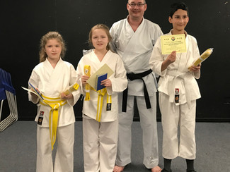 Junior Club Grading - 3 new belts awarded.