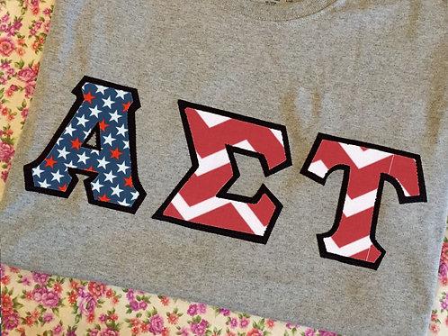 American Flag Greek Letter T-Shirt