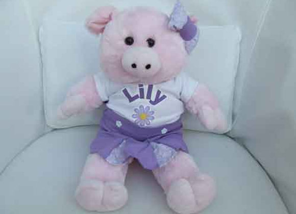 PERSONALISED PIGGY with handmade clothing