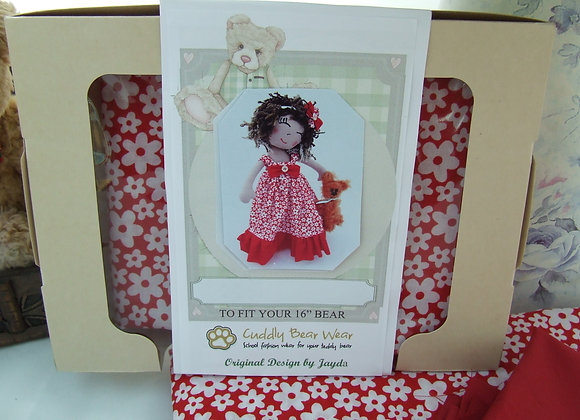 "Red Rosie dress and head piece Sewing Pattern Kit  for 16""Bear or Doll"