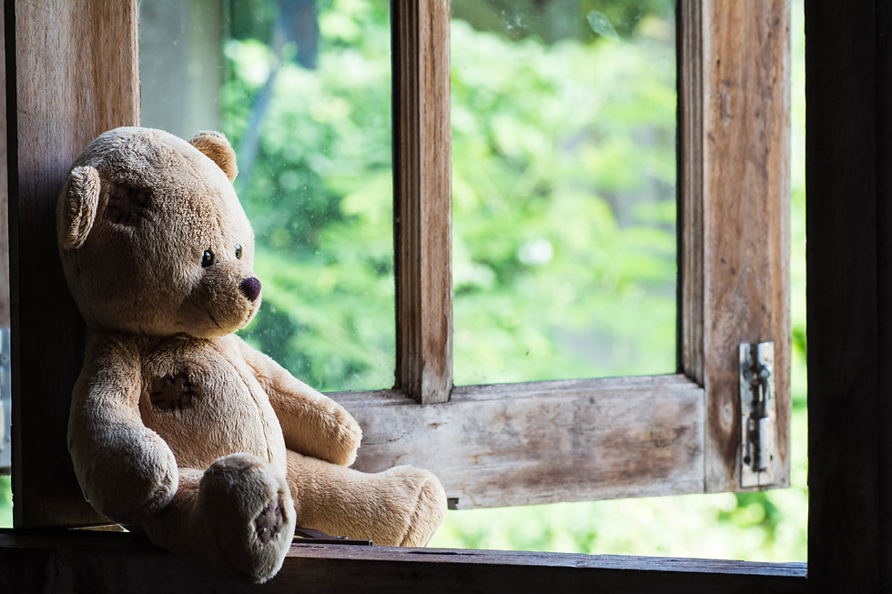 Teddy bear sit and waiting at  the windo