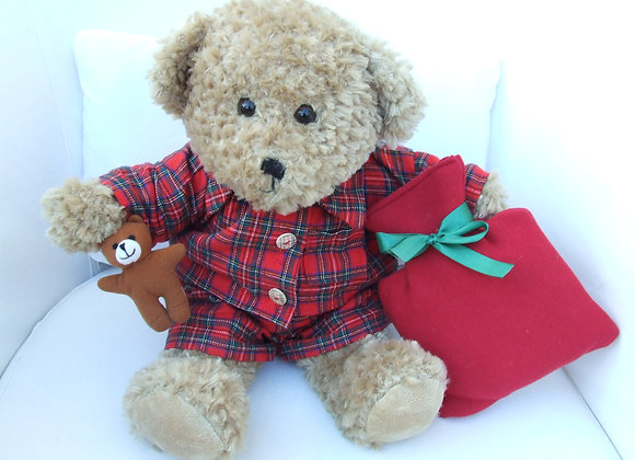 Christmas RedTartan PJ's and hot water bottle outfit
