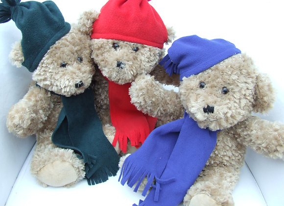 My School Bear Winter hat and Scarf. All school colours available