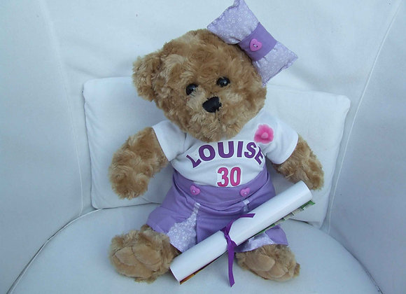 PERSONALISED BEAR, with handmade clothing
