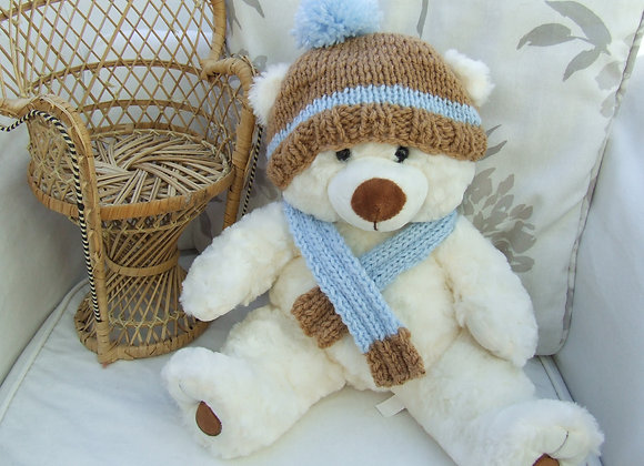 "Mikey hat & scarf Knitting Pattern for 16"" Bears"