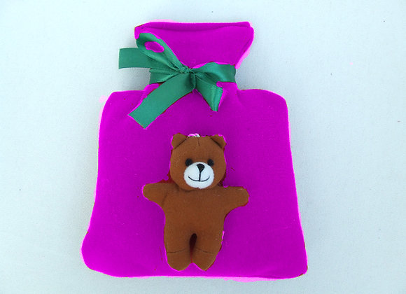 Hot water bottle with bear wrist toy