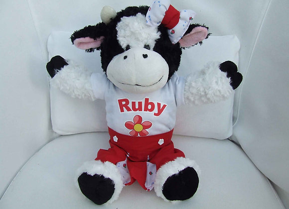 PERSONALISED COW, with handmade clothling