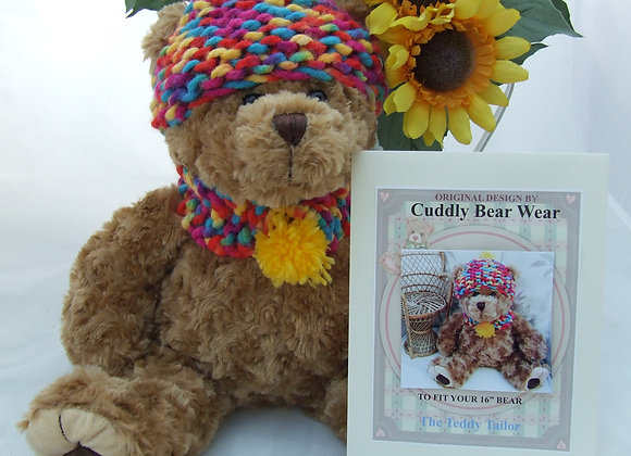 "Rupert hat & scarf Crochet Pattern for 16"" Bears"