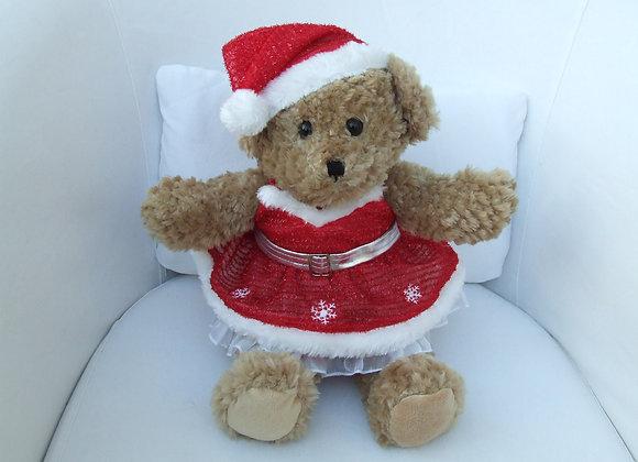 Christmas Bear Red Dress SET