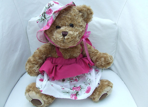 DRESS pink floral with reversible hat