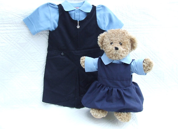 RECYCLED 2 piece PINAFORE school bear uniform
