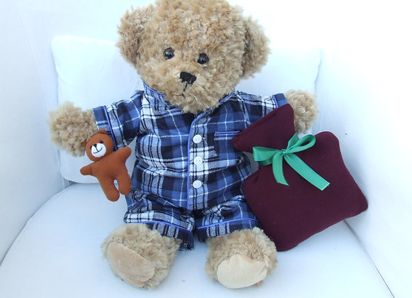 Christmas Blue Tartan PJ's and hot water bottle outfit