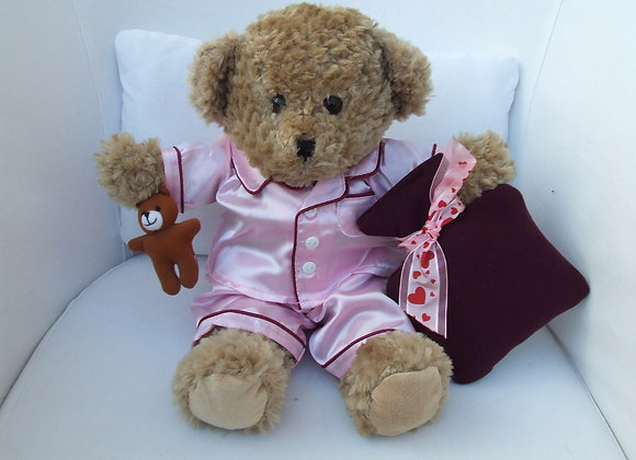 Christmas Pink satinPJ's and hot water bottle outfit