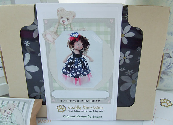 "Lauren Navy Dress Sewing Pattern Kit for 16"" Bear or Doll"