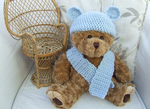 """Freddy Hat & Scarf Crochet Pattern for 16"""" Bears"""