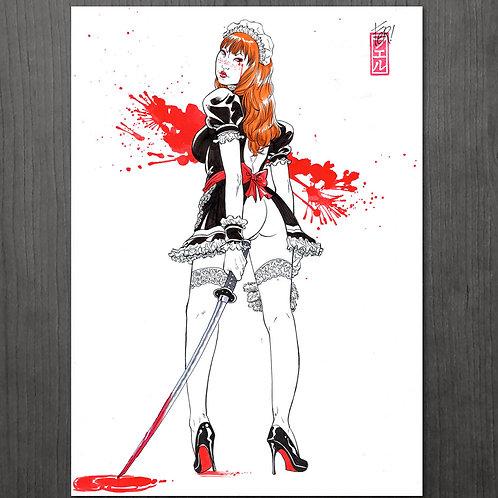 "dibujo ORIGINAL ""Yakuza maid""  - Tinta + color"