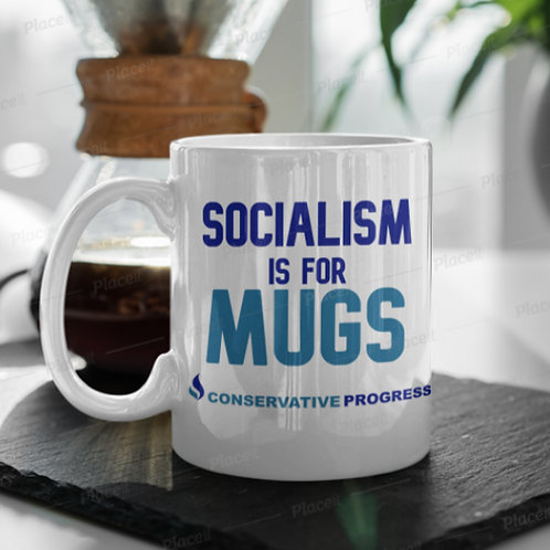 CP 'Socialism is for Mugs' white mug