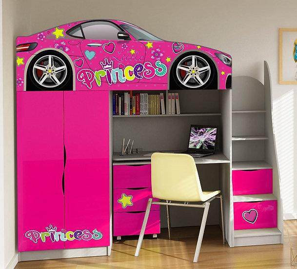 Кровать чердак машина для девочки