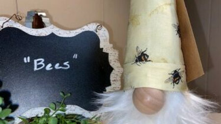 """Bees"" Custom Scandinavian Gnome 13 1/2"" x 4"" with Shoes - Handmade"