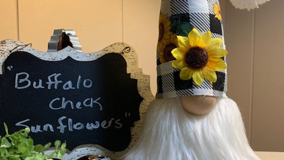 """Buffalo Check Sunflowers"" Scandanavian Custom Gnome with Shoes"