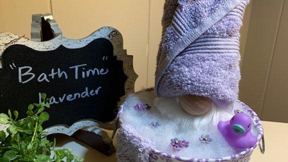 """Bath Time - Lavender"" Scandanavian Gnome in Washbucket & Rubber Duck"