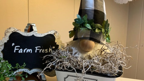 """Farm Fresh"" Farmhouse Scandanavian Custom Gnome Centerpiece Display"