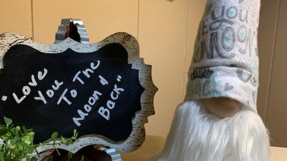 """""""Love You To The Moon & Back"""" Scandanavian Custom Gnome with Shoes"""