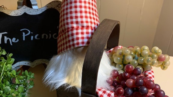 """The Picnic"" Scandanavian Custom Gnome with Basket & Fruit"