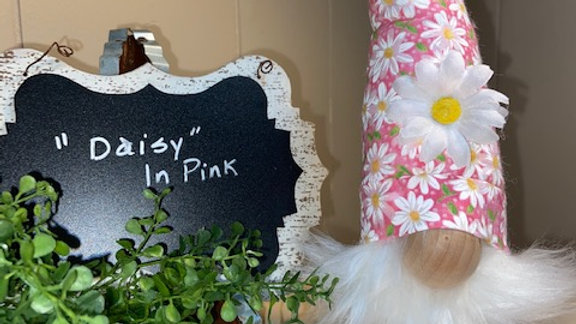 """Daisy In Pink"" Scandinavian Gnome 13 1/2"" x 4"" with Shoes & Interchangeable Pom"