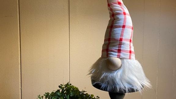 "Red & White Check Scandinavian (Small) Gnome 10"" x 3 1/2"""