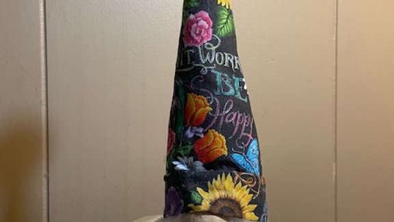 """Don't Worry Be Happy Scandinavian Gnome (Small) 10"""" x 3 1/2"""""""