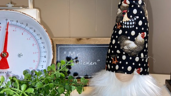 """Mr Chicken"" Scandinavian Gnome with 4 Interchangeable Chickens"